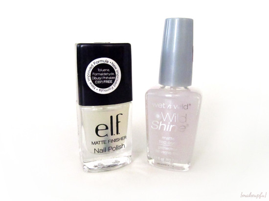e.l.f. Essential Matte Finisher and Wet n Wild Wild Shine Matte Top Coat