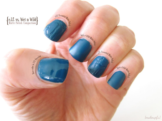 e.l.f. Essential Matte Finisher and Wet n Wild Wild Shine Matte Top Coat over LVX Prussian
