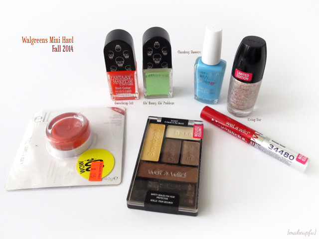 Walgreens Mini Haul Fall 2014: Wet n Wild A Karat in the World 5 Pan Palette, Bloody Good MegaSlicks Lip Gloss, Chambray Showers Wild Shine Polish, Tombstone Polishes in Glo' Money, Glo' Problems & Goosebump Suit, Mega Rock polish in Rising Star, and e.l.f. Essential Lip Balm Tint in Grapefruit.
